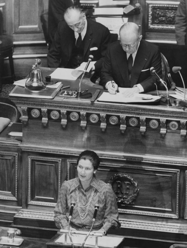 French lawyer and politician Simon Veil, the Minister of Health, addresses the French Senate about abortion on Dec. 13, 1974.