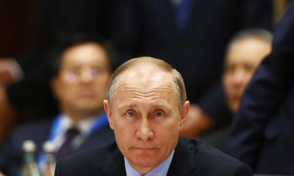 Russian President Vladimir Putin attends a summit at the Belt and Road Forum on May 15 in Beijing.