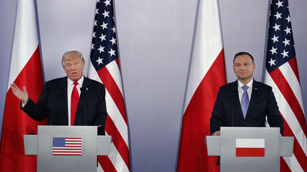 President Trump speaks during a news conference with Poland's President Andrzej Duda on Thursday in Warsaw.