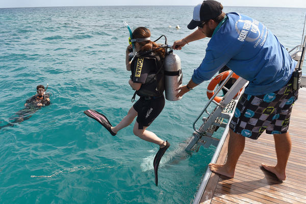 Scuba-diving tourists are helped into the water by a boat crew member on Australia's Great Barrier Reef.