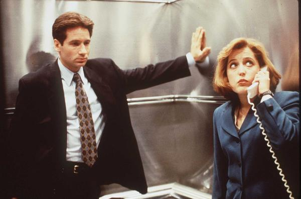 David Duchovny and Gillian Anderson star in the television show, <em>The X-Files</em>, where they played FBI agents.