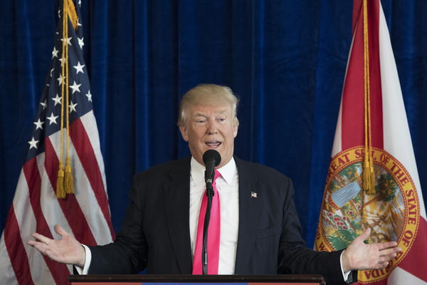 Then-Republican presidential candidate Donald Trump appeared to encourage Russia to continue hacking Democratic rival Hillary Clinton's emails at a press conference on July 27, 2016, in Doral, Fla.