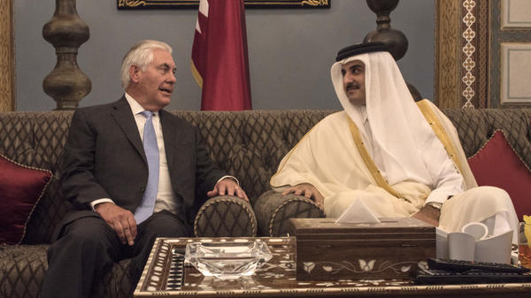 U.S. Secretary of State Rex Tillerson meets with the Emir of Qatar, Sheik Tamim Bin Hamad al-Thani in Doha, Qatar, on July 11. Tillerson attempted last week to work out a solution with Qatar and several Arab states that have broken off relations, but he was unable to reach a breakthrough.
