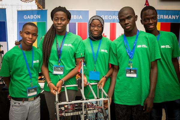 Team Gambia at the First Global Challenge 2017, an international robotics event. Left to right: Sellou Jallow, Fatoumata Ceesay, Khadijatou Gassama, Ebrima Marong and Alieu Bah.