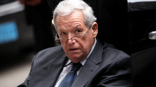 Former House Speaker Dennis Hastert leaves the Dirksen Federal Court House in a wheelchair after his sentencing on April 27, 2016 in Chicago, Ill. Hastert was sentenced to 15 months in prison and ordered to pay $250,000 to a victim's fund for breaking banking laws; he had paid hush money to conceal his decades-old sexual abuse of a 14-year-old.