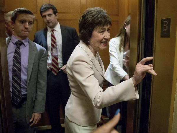 Sen. Susan Collins of Maine arrives on Capitol Hill on Tuesday. She is one of three Republicans who said publicly that she opposes a GOP plan to repeal Obamacare without a replacement.