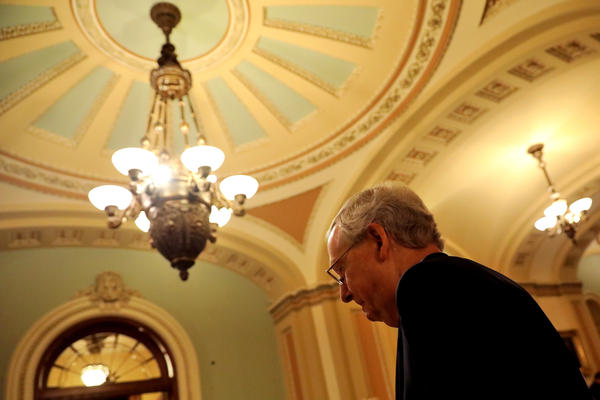 Senate Majority Leader Mitch McConnell attends a news conference following a party policy meeting at the U.S. Capitol on July 11.