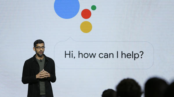 Google CEO Sundar Pichai talks about the new Google Assistant during a 2016 product event in San Francisco. The voice assistant is one of a number of Google products that will provide user data to the curation service that the company is launching Wednesday.