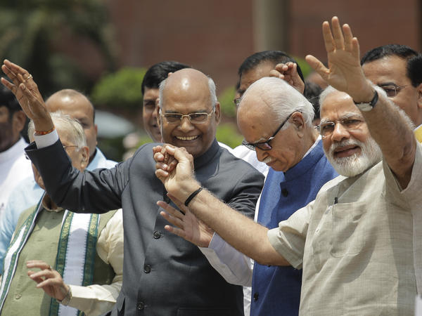 Ram Nath Kovind (left) walked with Indian Prime Minister Narendra Modi (right) and Bharatiya Janata Party senior leader L.K. Advani (center) on their way to file Kovind's nomination papers for the presidential elections in New Delhi on June 23. Kovind belongs to the lowest rank of Hinduism's hierarchy.
