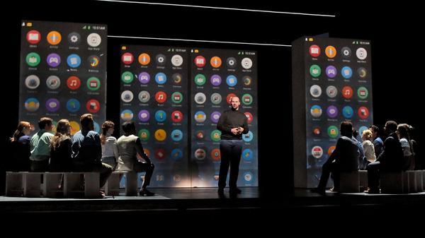 Edward Parks, who plays Steve Jobs, and the Santa Fe Opera Chorus in <em>The (R)evolution of Steve Jobs.</em>