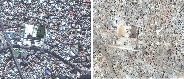 Satellite images show the 12th century Great Mosque of al-Nuri in November 2015 (left) and July 2017 after it was destroyed by ISIS.