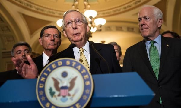 Senate Majority Leader Mitch McConnell, R-Ky., speaks after a weekly meeting with Senate Republicans on Capitol Hill on Tuesday.