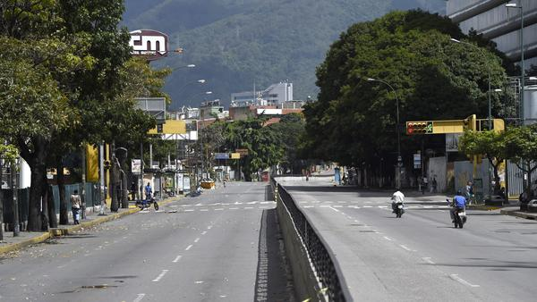 Some streets in Caracas were nearly empty on Thursday, as the general strike was underway.