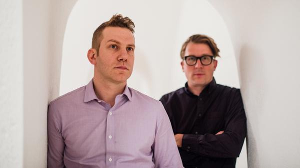 Art historian James Merle Thomas (left) and Wilco keyboardist Mikael Jorgensen make up the duo Quindar.
