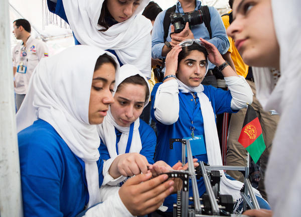 "The all-girls team from Afghanistan had garnered attention even before the competition began, when the U.S. State Department initially denied the members visas. They were awarded a medal for ""courageous achievement."""