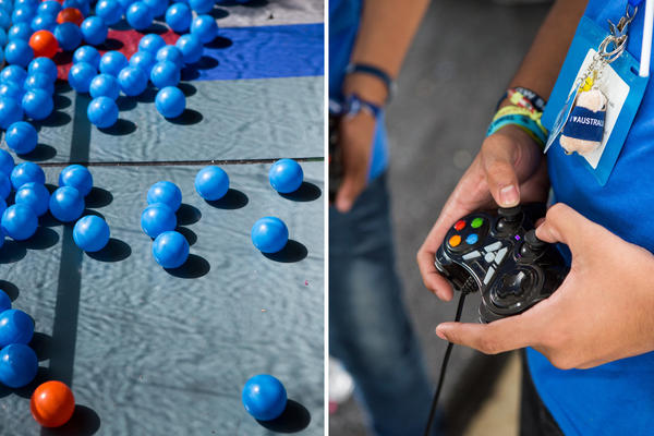 The competition theme was providing access to clean water. The robots had to gobble up and sort blue and orange plastic balls, representing clean water and contaminated water, respectively.