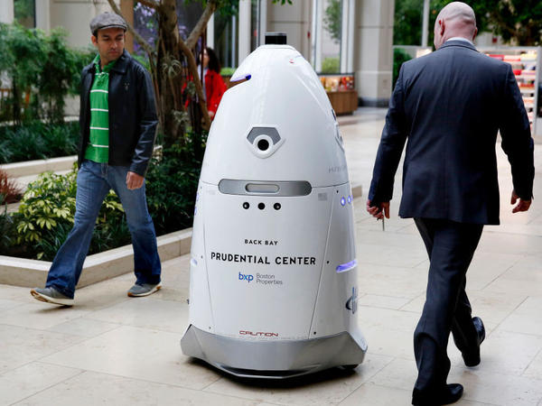 A Knightscope K5 security robot roamed the Prudential Center in Boston in May. Will it be the next robot to question its existence?