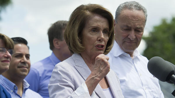 House Minority Leader Nancy Pelosi of California speaks in Berryville, Va., on Monday to unveil the Democrats' new agenda. Senate Minority Leader Chuck Schumer of New York is by her side.