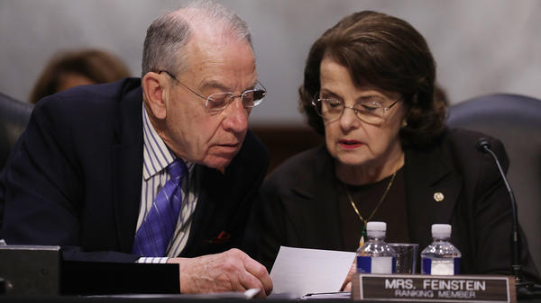 Senate Judiciary Committee Chairman Charles Grassley, R-Iowa, and ranking member Sen. Dianne Feinstein, D-Calif., on Capitol Hill on April 3, 2017.