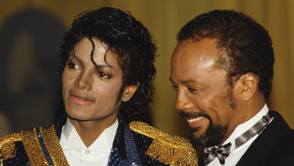"""Michael Jackson and Quincy Jones at the the 26th Grammy Awards in 1984. Jones won a case against Jackson's estate this week over royalties he said had been """"disguised."""""""