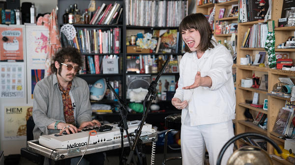Aldous Harding performs a Tiny Desk Concert on June 6, 2017. (Claire Harbage/NPR)