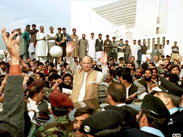 In 1997, Nawaz Sharif faced contempt charges in Pakistan's Supreme Court, where he waved to supporters after appearing before the judges. His supporters later stormed the court and both the chief justice and president were ousted from office.