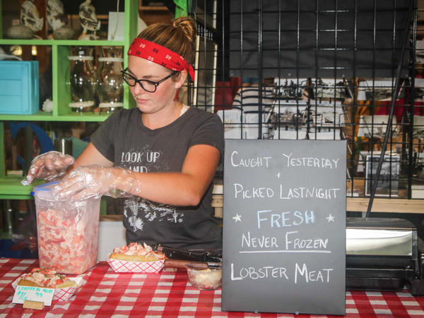 Sadie Samuels has a real sea-to-table system. She sells her lobster meat and lobster rolls at a farmers market in Belfast, Maine.