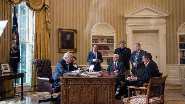 With President Trump in January: White House chief of staff Reince Priebus (from second left), Vice President Pence, chief strategist Steve Bannon, press secretary Sean Spicer and national security adviser Michael Flynn listen. Just six months later, only Bannon is still serving in the Trump-Pence administration.