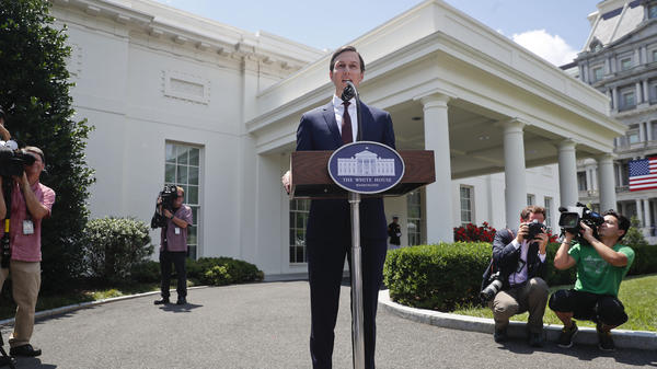 White House senior adviser Jared Kushner speaks to reporters on Monday, July 24, 2017, after meeting on Capitol Hill behind closed doors with the Senate Intelligence Committee.