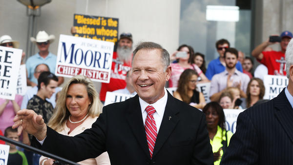 Then-Alabama Chief Justice Roy Moore speaks to the media during a news conference in Montgomery, Ala., on Aug. 8, 2016.