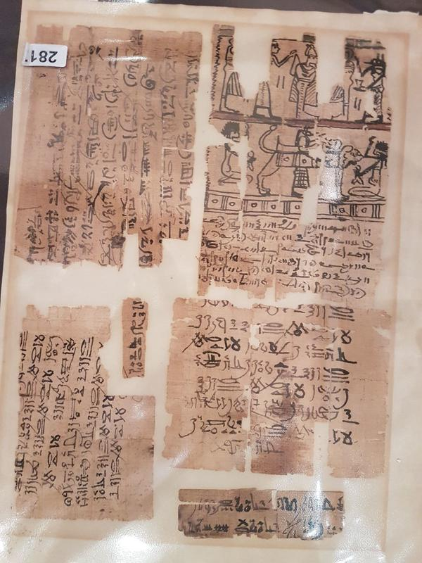 Papyrus fragments confiscated from Palestinian antiquities dealers.