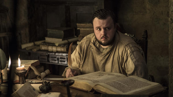 Hackers claim to have stolen information related to HBO's <em>Game of Thrones, </em>allegedly including written material from an upcoming episode. HBO has confirmed a hack occurred, but not what information was acquired. Here, Samwell Tarly (John Bradley) sits with some written material of his own.