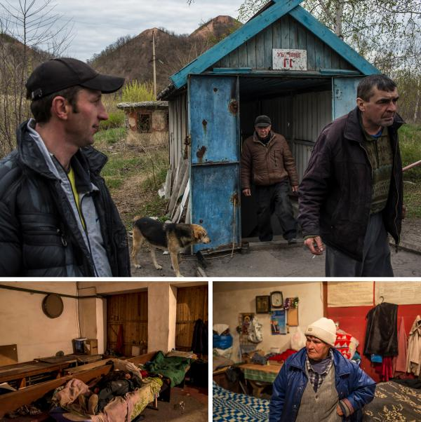(Top) Ruslan Timofeeva, 35, (left) and Sasha Ivasob, 45, (right) stand outside the entrance to an underground bomb shelter where they and other residents have been living full time for three years. (Bottom left) A man sleeps in the afternoon in the shelter. (Right) Galina Buriak, 74, poses for a portrait in the shelter.