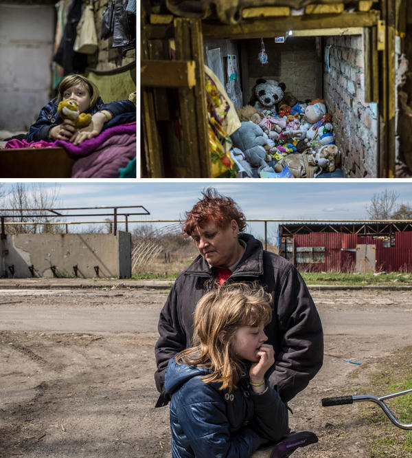 (Left) Vika, 10, in the underground room where she and her family sleep to stay safe from regular shelling in Spartak, Ukraine. (Right) Vika keeps her stuffed animals in this underground cubby, which also serves as a space to play. (Bottom) Vika and her grandmother, Valentina Pleshkova, 54.