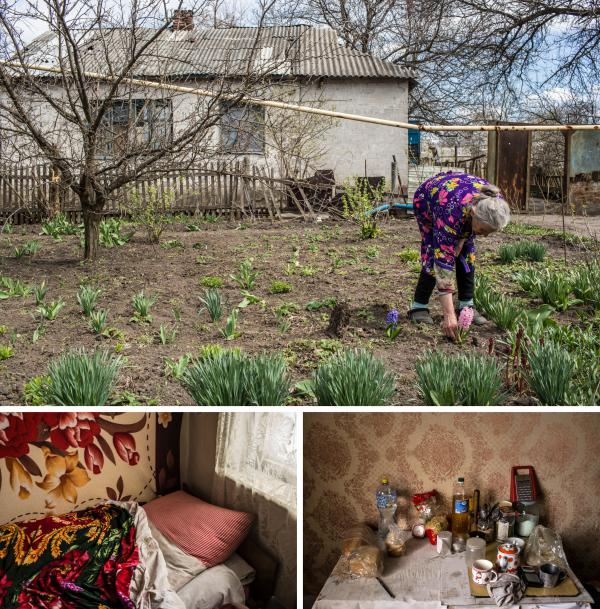 (Top) Raya Shaporova, 70, a local pensioner who has not left despite the dangers of fighting all around, picks flowers in her yard in Spartak, Ukraine. (Bottom) Shaporova's bed, as well as some food and other small items, are some of the few things she keeps in her home.