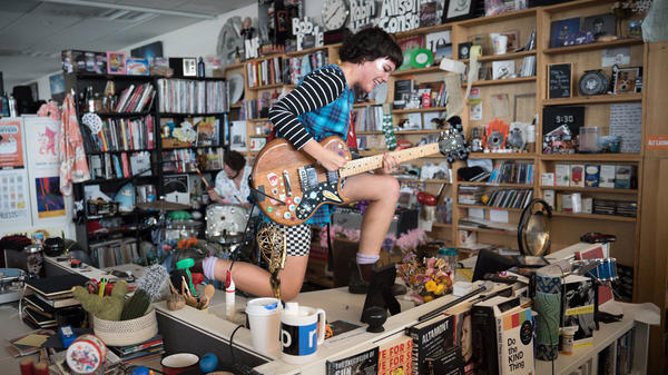 Diet Cig performs a Tiny Desk Concert on June 13, 2017. (Claire Harbage/NPR)