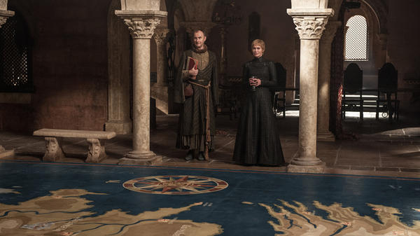 "<em>Do It, Casterly Rockapella!</em>: In ""The Spoils of War,"" Tycho (Mark Gatiss) and Cersei (Lena Headey) prepare for the bonus round of <em>Where in the World is Dany Targaryen? </em>"