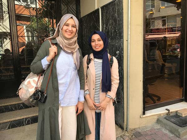 "Zeynep Terzi, left, 23, a medical student in Istanbul, and Betul Vargi, 22, a college student studying English literature, are part of what Turkish President Recep Tayyip Erdoğan calls a new ""pious generation"" of Turks. They wear headscarves and attend mosque, but they also believe in a separation of religion and state."