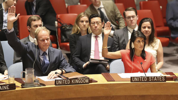British Ambassador to the U.N. Matthew Rycroft and U.S. Ambassador to the U.N. Nikki Haley were among the unanimous vote to impose new sanctions on North Korea Saturday.