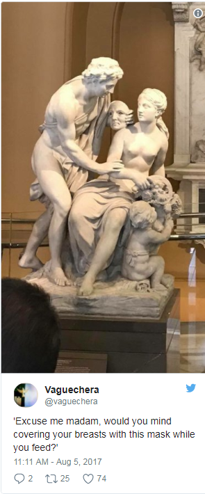 A now-protected tweet shows a statue at the Victoria and Albert museum.