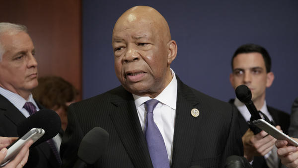 Rep. Elijah Cummings, D-Md., ranking member of the House Oversight Committee, speaks to reporters on Capitol Hill in May.