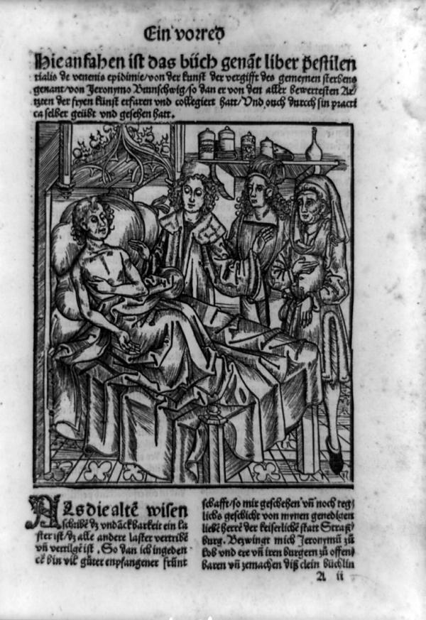 "In the <em>Pestbuch</em>, <a href=""http://www.cppdigitallibrary.org/collections/show/37"">a medical treatise</a> on the plague and how to treat it, a plague victim shows three physicians the bubo in his armpit. It was created around 1500 by a surgeon named Hieronymus Brunschwig."