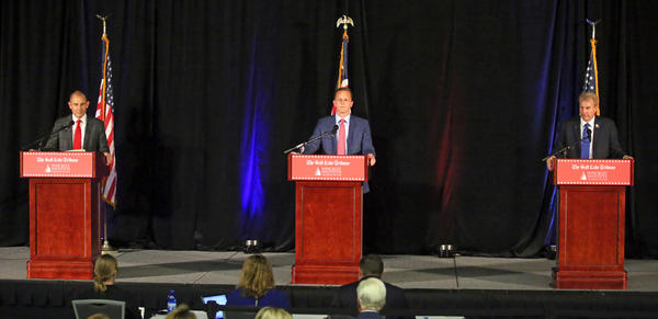 Republican candidates John Curtis, left, Tanner Ainge, and Chris Herrod, participate in a debate at the Utah Valley Convention Center Friday, July 28, 2017, in Provo. The Republican candidates, vying for the seat vacated by U.S. Rep. Jason Chaffetz, debated on topics ranging from health care to religious freedom.