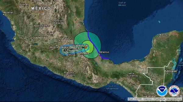 A forecast map from the National Hurricane Center shows the path of Franklin, which made landfall as a hurricane on eastern Mexico's coast early Thursday.