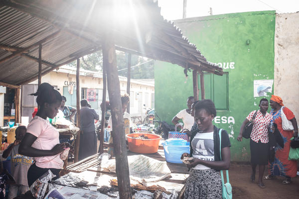 Irene Ogutu (left), who is in two merry-go-rounds, sells fish at her stall in a market near the village. She is using one fund to save for emergencies and the second to buy metal sheets to build an addition to her house.