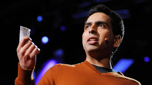 Sal Khan on the TED stage.