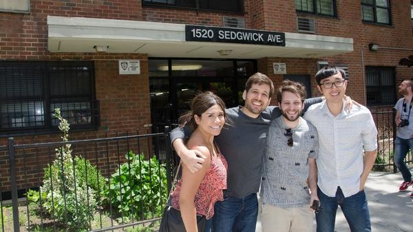 The Doodle team, Perla Campos, Kevin Burke, Pedro Vergani and David Lu, standing in front of hip-hop's birthplace, 1520 Sedgwick Avenue.