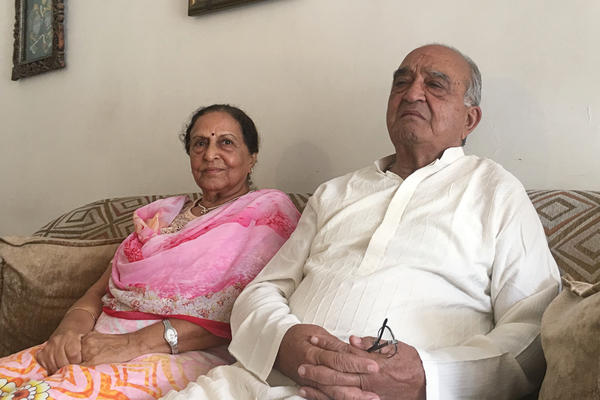 Promila Saigal, 76, sits with her husband Anand Kumar Saigal, 85. They both recall the tumultuous days when their families fled their homes in Lahore for newly independent India in 1947.