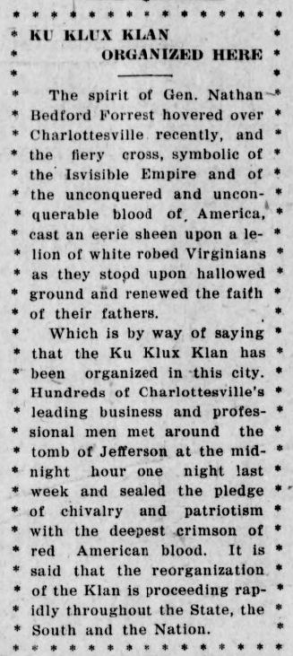 An article from <em>The Daily Progress </em>on June 28, 1921, announces the formation of Charlottesville's KKK.