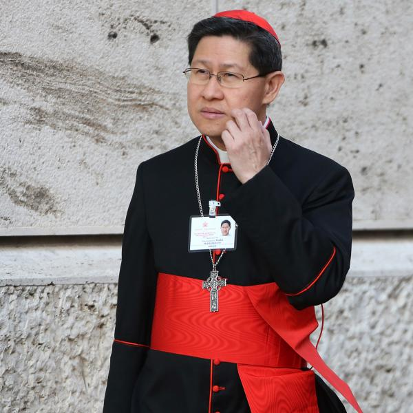 Manila Archbishop Cardinal Luis Antonio Tagle arrives at the Synod Hall on Oct. 8, 2014, in Vatican City, Vatican. Tagle has called for an end to the bloody war on drugs in the Philippines.